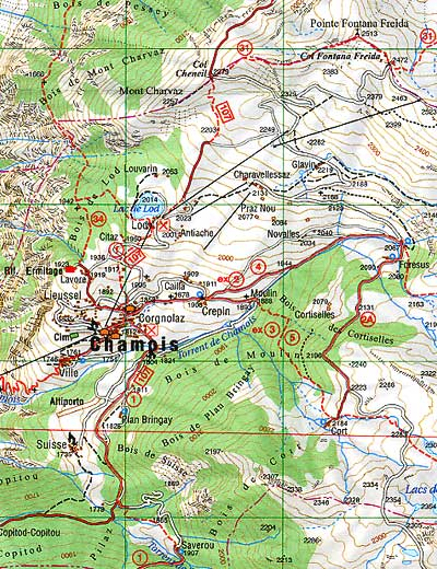 Map of Chamois Valley.