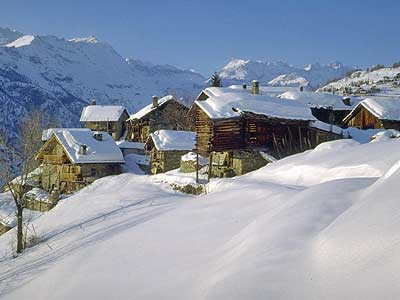 "Winter view of a village (""homeau"") of Chamois"